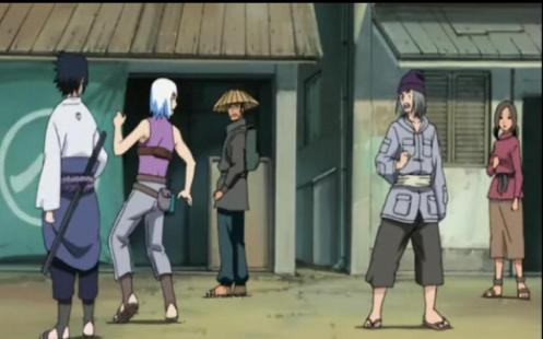 Sasuke:Hey, it's that stole my man-bag! Suigetsu: Don't you mean purse? Man: This can only be settled with a manly handshake! Suigetsu: *cough*making babie dolls dhake hands*cough*