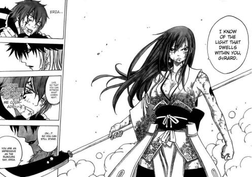 I've noticed that whenever Erza wears the least amount of armor, she gets the most ass kicking done...hopefully this is no exception.